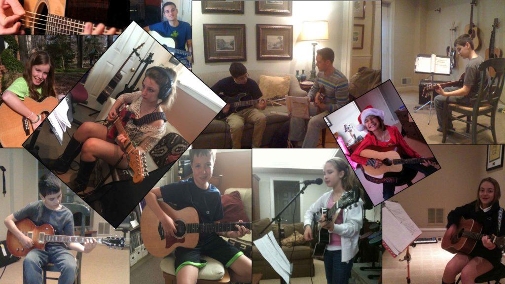 pre-teen and teen guitar students at potomac falls music